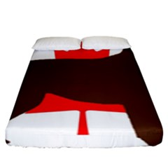 Chocolate Labrador Retriever Silo Canadian Flag Fitted Sheet (King Size)