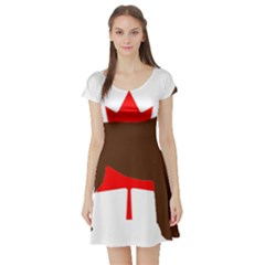 Chocolate Labrador Retriever Silo Canadian Flag Short Sleeve Skater Dress