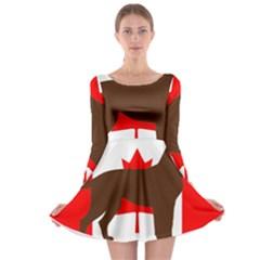 Chocolate Labrador Retriever Silo Canadian Flag Long Sleeve Skater Dress