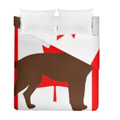 Chocolate Labrador Retriever Silo Canadian Flag Duvet Cover Double Side (Full/ Double Size)