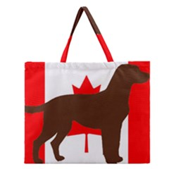 Chocolate Labrador Retriever Silo Canadian Flag Zipper Large Tote Bag