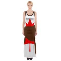 Chocolate Labrador Retriever Silo Canadian Flag Maxi Thigh Split Dress