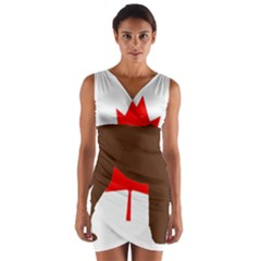 Chocolate Labrador Retriever Silo Canadian Flag Wrap Front Bodycon Dress