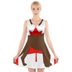 Chocolate Labrador Retriever Silo Canadian Flag V-Neck Sleeveless Skater Dress