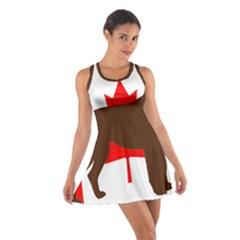 Chocolate Labrador Retriever Silo Canadian Flag Cotton Racerback Dress