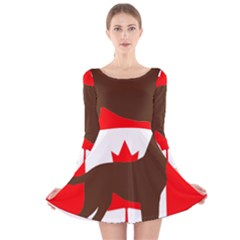 Chocolate Labrador Retriever Silo Canadian Flag Long Sleeve Velvet Skater Dress