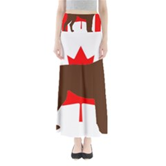 Chocolate Labrador Retriever Silo Canadian Flag Maxi Skirts