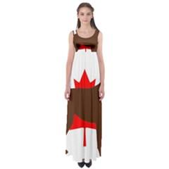 Chocolate Labrador Retriever Silo Canadian Flag Empire Waist Maxi Dress