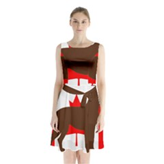 Chocolate Labrador Retriever Silo Canadian Flag Sleeveless Waist Tie Chiffon Dress