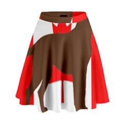 Chocolate Labrador Retriever Silo Canadian Flag High Waist Skirt