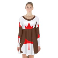 Chocolate Labrador Retriever Silo Canadian Flag Long Sleeve Velvet V-neck Dress