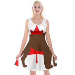Chocolate Labrador Retriever Silo Canadian Flag Reversible Velvet Sleeveless Dress