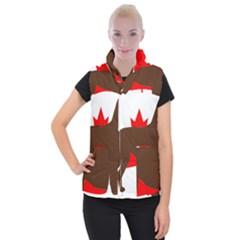 Chocolate Labrador Retriever Silo Canadian Flag Women s Button Up Puffer Vest