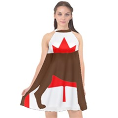 Chocolate Labrador Retriever Silo Canadian Flag Halter Neckline Chiffon Dress