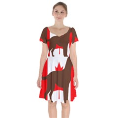 Chocolate Labrador Retriever Silo Canadian Flag Short Sleeve Bardot Dress