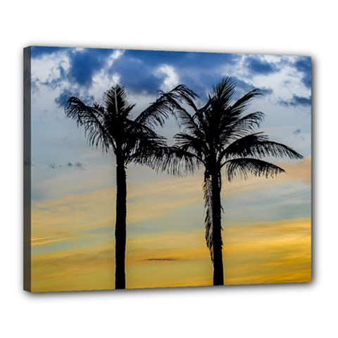 Palm Trees Against Sunset Sky Canvas 20  x 16