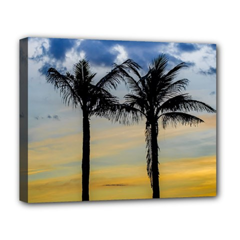 Palm Trees Against Sunset Sky Deluxe Canvas 20  x 16