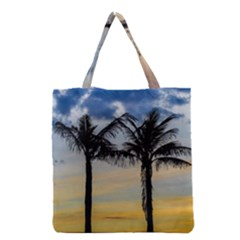 Palm Trees Against Sunset Sky Grocery Tote Bag