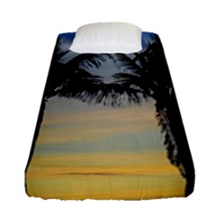 Palm Trees Against Sunset Sky Fitted Sheet (Single Size)