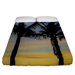Palm Trees Against Sunset Sky Fitted Sheet (California King Size)