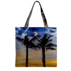 Palm Trees Against Sunset Sky Zipper Grocery Tote Bag