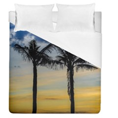 Palm Trees Against Sunset Sky Duvet Cover (Queen Size)