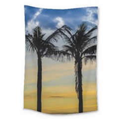 Palm Trees Against Sunset Sky Large Tapestry