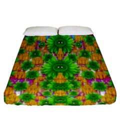 Jungle Love In Fantasy Landscape Of Freedom Peace Fitted Sheet (Queen Size)