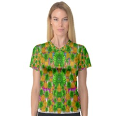 Jungle Love In Fantasy Landscape Of Freedom Peace Women s V-Neck Sport Mesh Tee