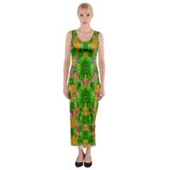 Jungle Love In Fantasy Landscape Of Freedom Peace Fitted Maxi Dress