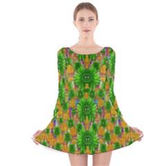 Jungle Love In Fantasy Landscape Of Freedom Peace Long Sleeve Velvet Skater Dress