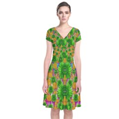 Jungle Love In Fantasy Landscape Of Freedom Peace Short Sleeve Front Wrap Dress