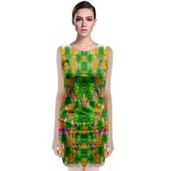 Jungle Love In Fantasy Landscape Of Freedom Peace Sleeveless Velvet Midi Dress