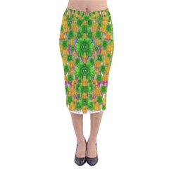 Jungle Love In Fantasy Landscape Of Freedom Peace Velvet Midi Pencil Skirt