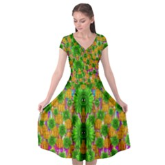 Jungle Love In Fantasy Landscape Of Freedom Peace Cap Sleeve Wrap Front Dress
