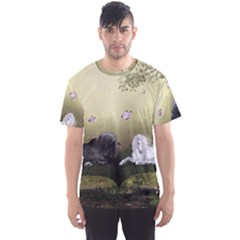 Wonderful Whte Unicorn With Black Horse Men s Sport Mesh Tee