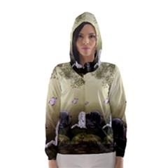 Wonderful Whte Unicorn With Black Horse Hooded Wind Breaker (Women)