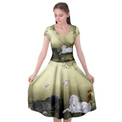 Wonderful Whte Unicorn With Black Horse Cap Sleeve Wrap Front Dress