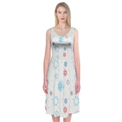 Snow Pattern C2  170505 Midi Sleeveless Dress