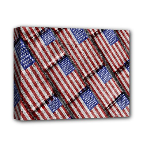 Usa Flag Grunge Pattern Deluxe Canvas 14  x 11