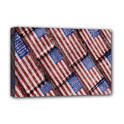 Usa Flag Grunge Pattern Deluxe Canvas 18  x 12