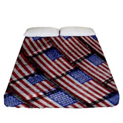 Usa Flag Grunge Pattern Fitted Sheet (Queen Size)