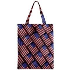 Usa Flag Grunge Pattern Zipper Classic Tote Bag