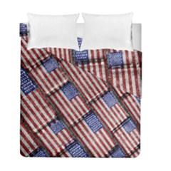 Usa Flag Grunge Pattern Duvet Cover Double Side (Full/ Double Size)