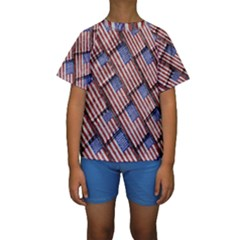 Usa Flag Grunge Pattern Kids  Short Sleeve Swimwear