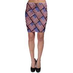 Usa Flag Grunge Pattern Bodycon Skirt