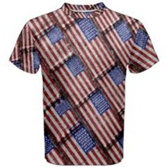 Usa Flag Grunge Pattern Men s Cotton Tee