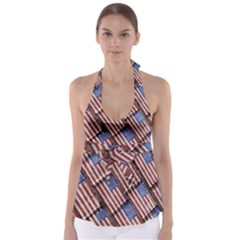 Usa Flag Grunge Pattern Babydoll Tankini Top