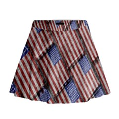 Usa Flag Grunge Pattern Mini Flare Skirt