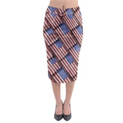 Usa Flag Grunge Pattern Midi Pencil Skirt